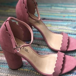 Dusty Rose Heels with Ankle Strap, Scalloped Toe